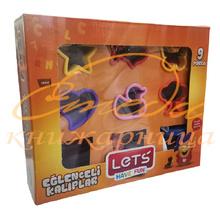 Пластилин LETS, 3 цвята + 6 формички