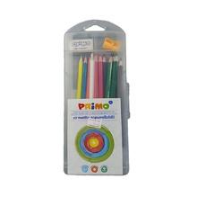 Акварелни моливи PRIMO, 12 цвята, с гума и острилка