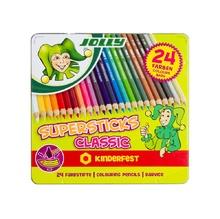 Цветни моливи JOLLY Supersticks, 24 цвята, метална кутия