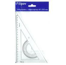 Tриъгълник с транспортир, Filipov, 20 см