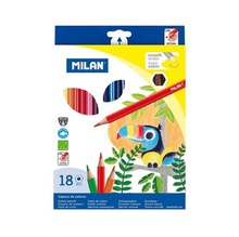 Цветни моливи Milan 211, 18 цвята, шестоъгълни