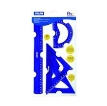 Комплект линия, 30 см + 2 триъгълника + транспортир Milan, различни цветове