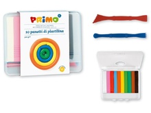 Пластилин Primo - Комплект 10 цвята с 2 двустранни ножчета в кутия