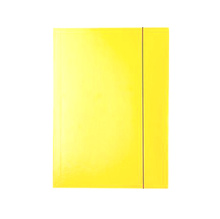 Папка картон с 3 капака и ластик, жълта